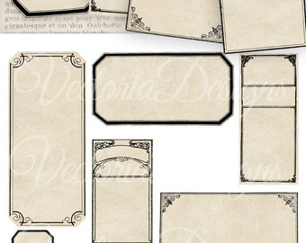 Blank Apothecary Labels - printable / add your own text - VD0388