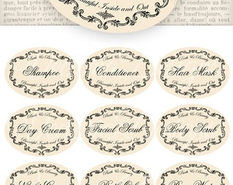 Bath and Beauty Labels instant download printable images digital collage sheet VD0113