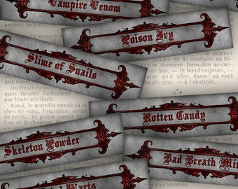 Halloween Labels Tags printable gothic paper craft art hobby crafting scrapbooking instant download digital collage sheet - VD0494