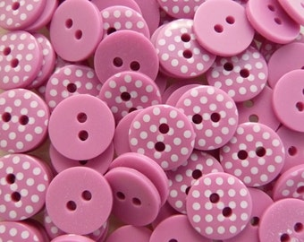 Bright Pink Fuchsia 10 x 12mm High Quality Polka Dot Buttons