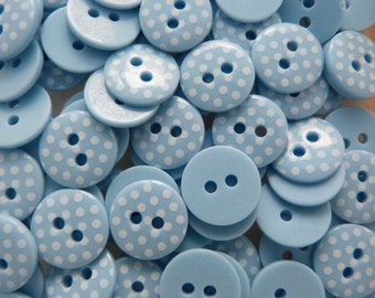 Light Blue 10 x 12mm High Quality Polka Dot Buttons