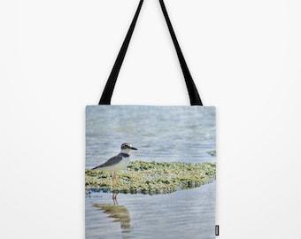 Bird Beach Bag, Sandpiper, Blue Summer Tote Bag