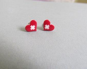 Nurse Heart Cross Stud Earrings, nursing accessories, RN, CNA, MA,