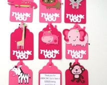Thank you Favor or Loot Bag Tags Personalized Cute Jungle Animal Girl Theme Birthday Party Decoration
