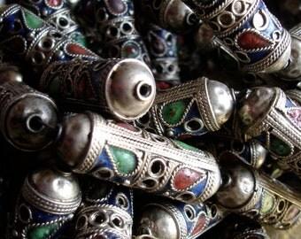 Enamel Moroccan tarnished  ornate long barrel bead