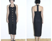 Black Linen T-back Dress