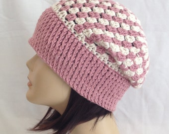 slouch beanie fits teens and adults hand crochet 100% cotton fit's 21-22 inches color rose & ivory