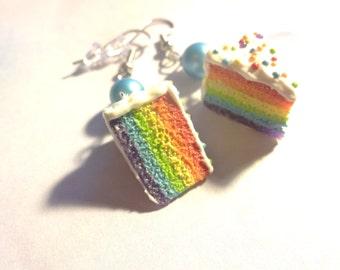 Rainbow Cake dangle earrings