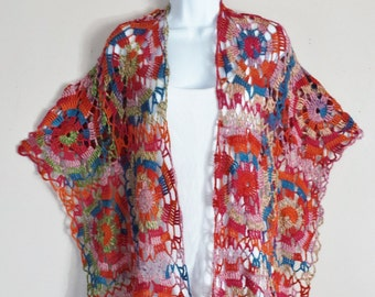 Think Spring Lacy Shawl in Bright Colors Crochet Shawl