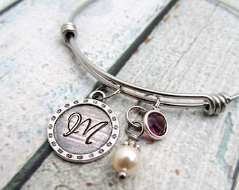Personalized Bracelet for Women - Expandable Bangle Bracelet - Personalized Initial Bracelet - Hand Stamped Jewelry - Personalized Mom Gift