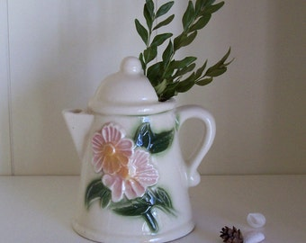 Majolica Style Flower Pitcher