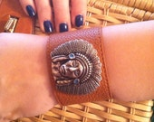 Indian Outlaw ~ Soft Leather Cuff with Large Vintage Indian Medallion, Junk Gypsy, Shabby Southern,
