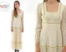 Vintage 70s Gunne Sax Boho Dress, Hippie Wedding Dress, Gauzy, Bohemian Floral Dress ΔΔ xs / sm