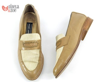 80s Stuart Weitzman Tan Leather & Linen Studded Loafers | Minimalist Loafers 80s Shoes Penny Loafers | size 5.5