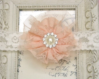 Baby Headband, Peach Lace Headband, Newborn Headbands, Lace Rosette Headband, Vintage Headband, Baby Photography Prop Wedding Flower Girl