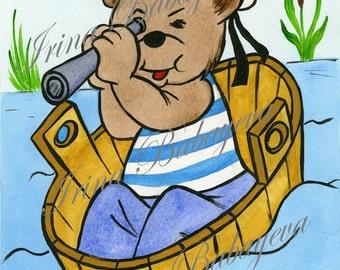 Very Cute Little Captain Bear, Watercolor Nursery Art, Bedroom Baby Nursery 8 x 10 Wall Art Prints