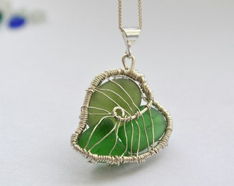 Green Genuine Sea Glass Hand Knitted and Wire Wrapped Fine Silver Wire Leaf Pendant