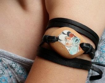 Deerskin Leather and Greek Beach Pottery wrap Bracelet