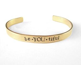 stacking bangles, stamped cuff bracelet, artisan jewelry, inspirational brass cuff bracelet, friendship bracelet, handmade jewelery, women