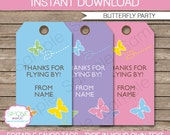 Butterfly Party Favor Tag or Thank You Tag - INSTANT DOWNLOAD and EDITABLE template - type your own text in Adobe Reader
