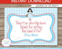 Wizard of Oz Party Favor Tag or Thank You Tag - INSTANT DOWNLOAD and EDITABLE template - type your own text in Adobe Reader