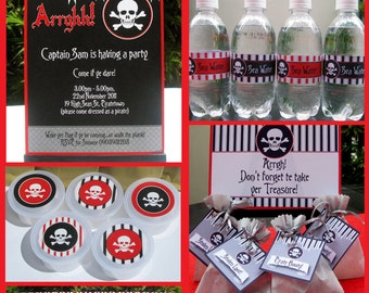 Pirate Theme Party Invitations & Decorations - full Printable Package - INSTANT DOWNLOAD with EDITABLE text - you personalize at home
