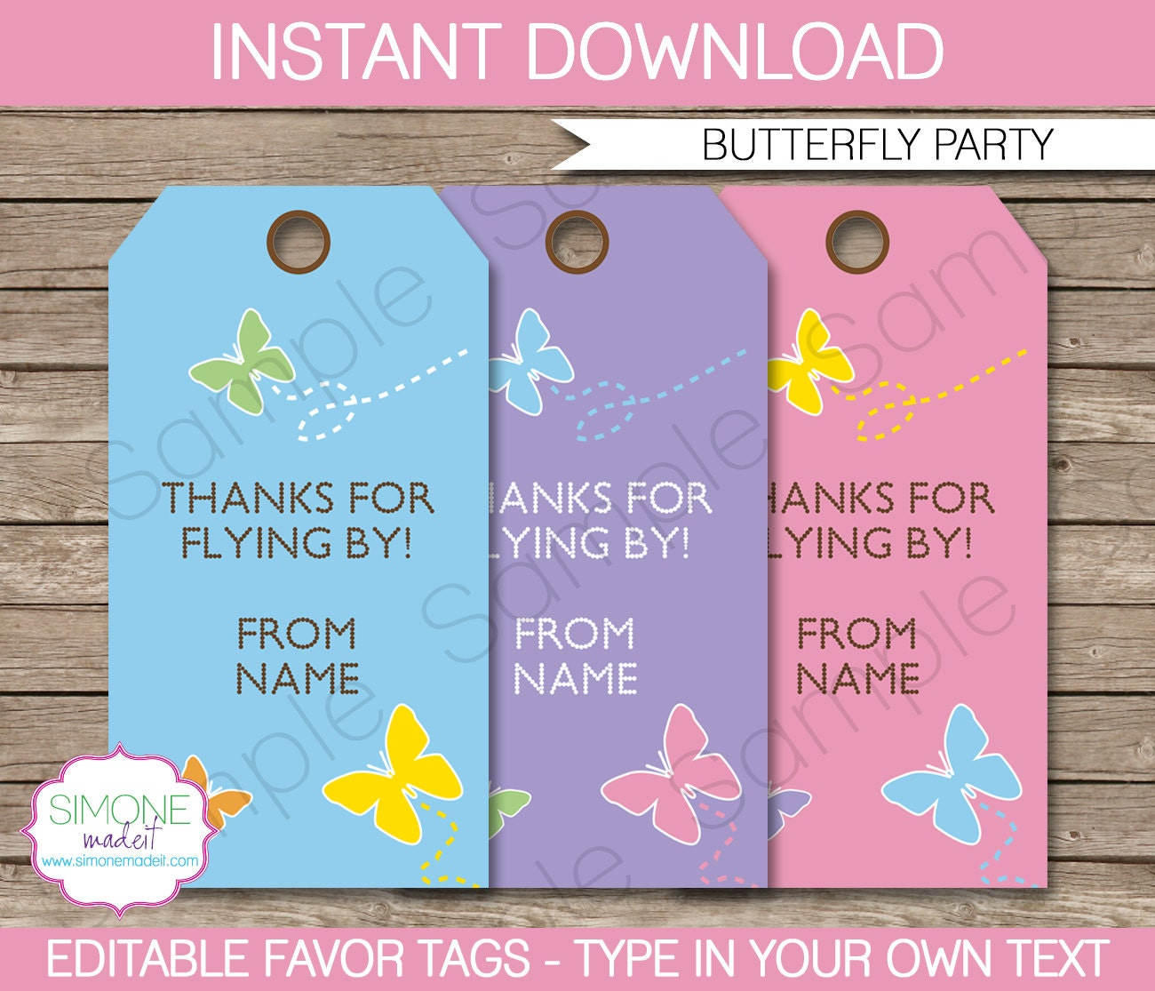 butterfly favor tags thank you tags birthday party favors