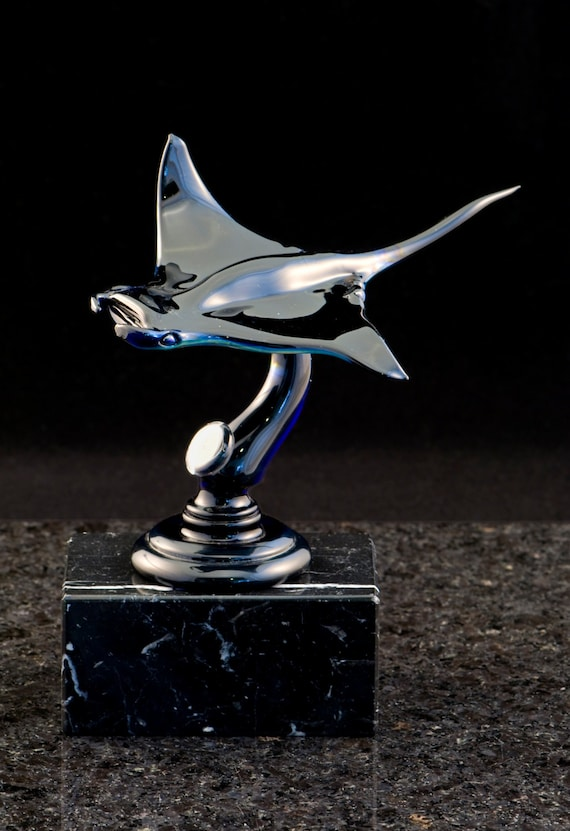 Sleek Glass Manta Ray on Glass Base, Lampwork Sculpture