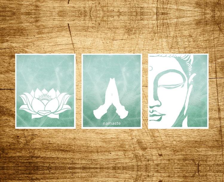 Namaste Set 3 Prints Lotus Namaste And Buddha Art By