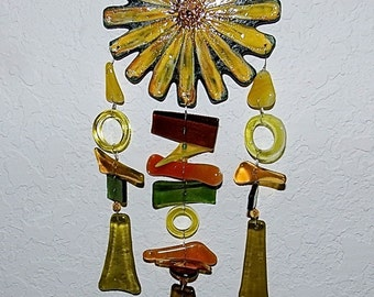 Yellow Flower Wind Chime from Recycled Glass