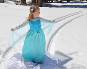Elsa Costume Dress, Frozen Snow Queen