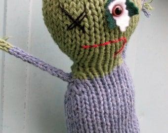 BEWARE Zombie Brad hand knit soft toy friend - 100% cotton plush monster friend, featured in Stuffed magazine, Autumn 2015