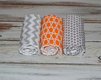 Baby Burp Cloths Boutique Gender Neutral Baby Burp Cloths Orange Gray Burp Cloth Set - Gray and Orange Burp Cloths