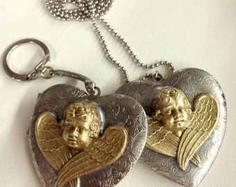 Angel Locket mad with Rare Vintage French Charm