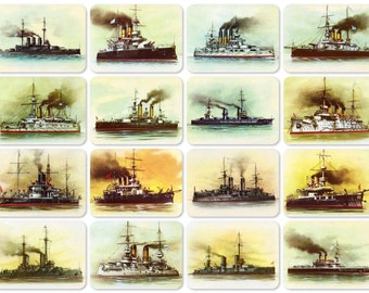 Russian Battleships. Drawings by Ivanov. Set of 16 Vintage Prints, Postcards - 1980. Fine Arts Publ., Moscow