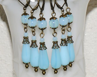 Vintage Victorian Style Long Glass Dangle Earrings- Turquoise Blue Opal