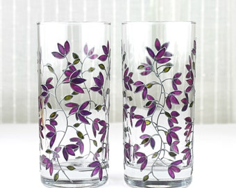 Hand Painted Glasses, Purple Tulips Design, Tumblers, Water Glasses,  Drinking Glasses,  Set of 2, Floral Iced Tea Glasses