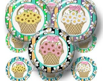 Daisy Baskets Bottle Cap Images Digital Collage Sheet 1 Inch Circles Buy 5 Get 5 Free TT Team