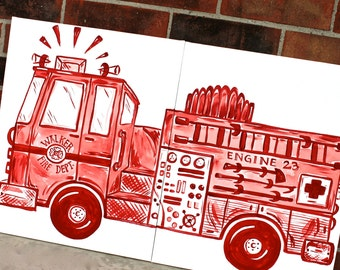 red or blue big rig fire truck art . 20x32 . fire engine side view. personalized custom gift . name on truck. hand painted.  sincerely YOU