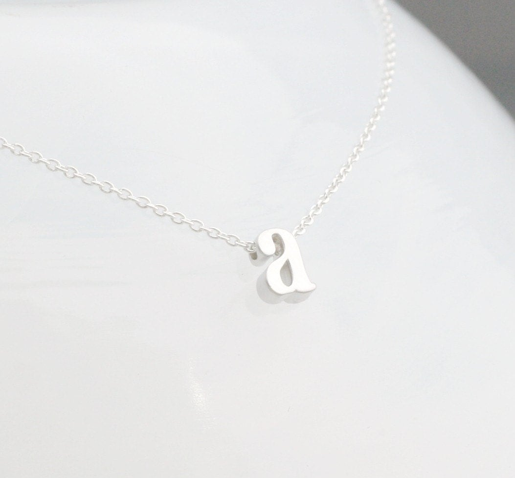 Lowercase silver initial necklace initial necklace letter for Lowercase letter necklace