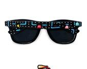 Pac-man Sunglasses - unique hand painted Wayfarer style sunglasses - Pacman orange green