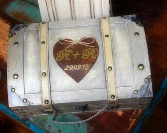Wedding Card Box Trunk Love Letter Ceremony Anniversary Rustic Shabby Chic Fairytale Vintage Wedding Custom Small