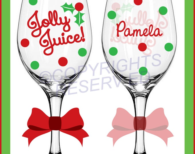 Personalized JOLLY JUICE Tall CHRISTMAS Wine Glass with Name on Back & Polka Dots Bachelorette Birthday Holiday Gift