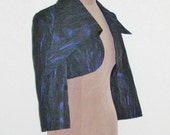Fabulous Bolero Cropped Jacket With Asymmetrical Collar Made From Donna Karan Fabric Size Small