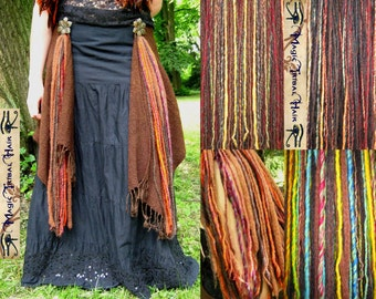 TRIBAL FUSION GYPSY yarn hair falls Belly Dance hip & hair tassels Burning Man skirt adornment Larp Reenactment costume Boho goa accessory