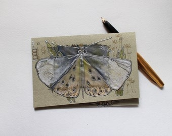 Butterfly in the wild herbs - silver pearl butterfly, royal mantle, night moth - handmade blank art greeting card for any event - OOAK