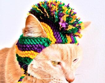 Mardi Gras Mohawk Cat Hat -  Hand Knit Cat Costume