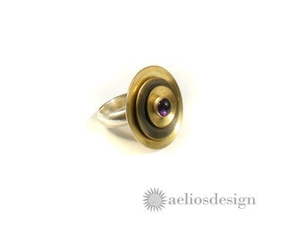 Cocktail Ring | Gold Statement Ring | Unique Bold Ring | Genuine Amethyst Gemstone Ring | Metal Work | Statement Satellite Ring