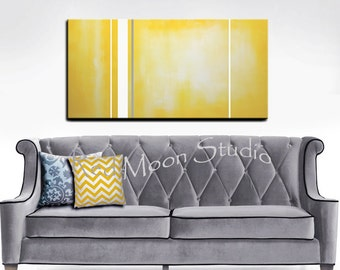 Abstract Art Yellow Painting, Large 48x24, Yellow and Gray Grey Original Modern Art