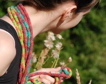 Ifinity Scarf, Crochet Scarf, Multicolor Infinity Scarf, Chunky Infinity Scarf,Rope Scarf, Made to order